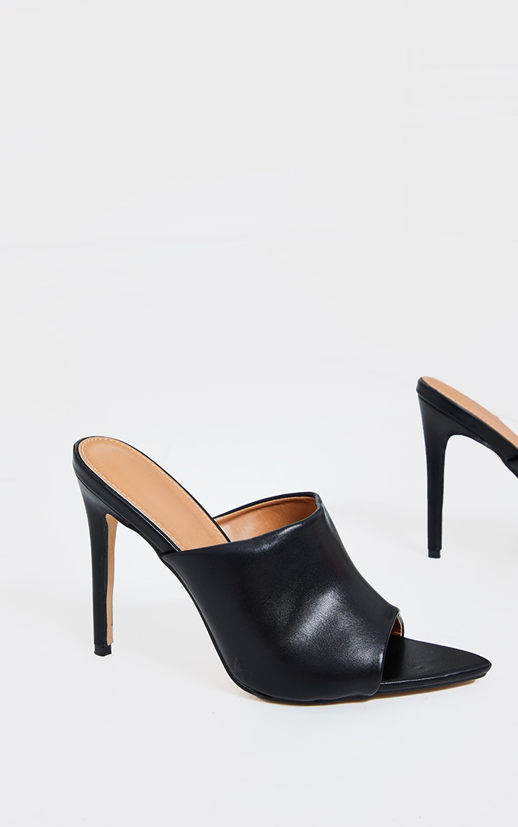 Black Pu Pointed High Heeled Mules 2