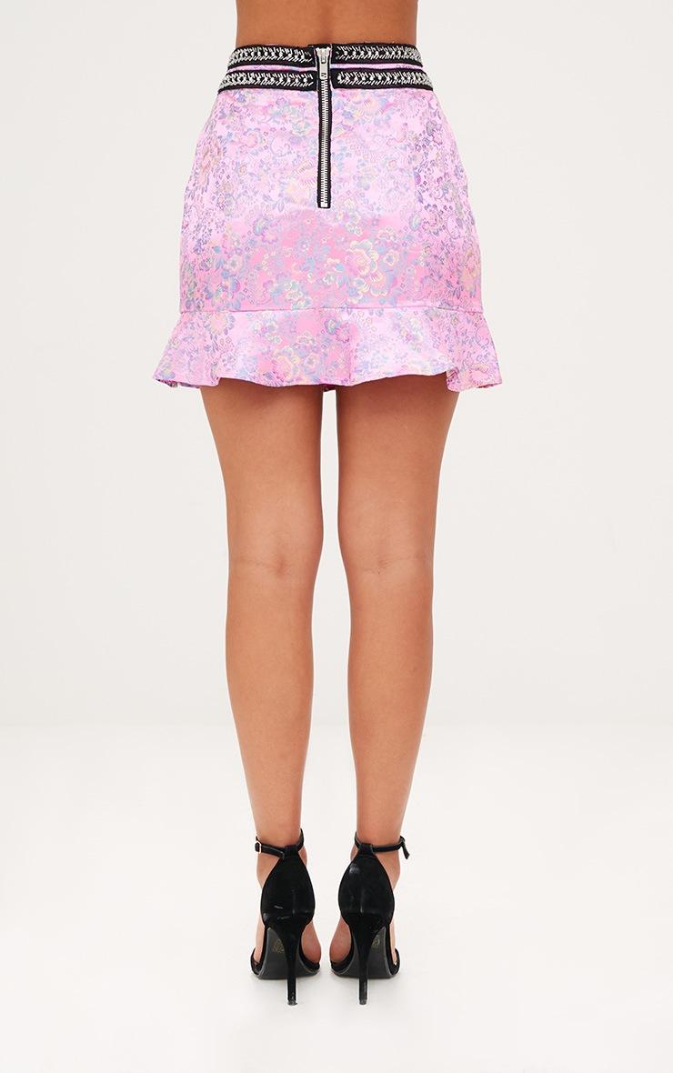 Premium Pink Jacquard Frill Hem Mini Skirt 4