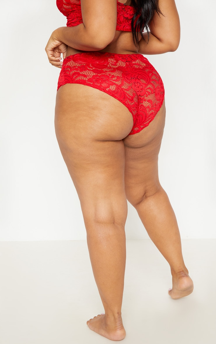 Plus Red Scallop Edge Lace Knickers 4