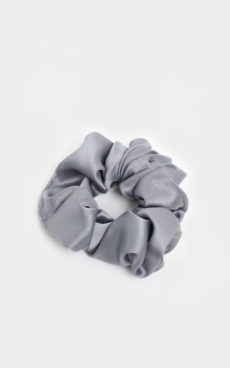 Grey Satin Scrunchie 2