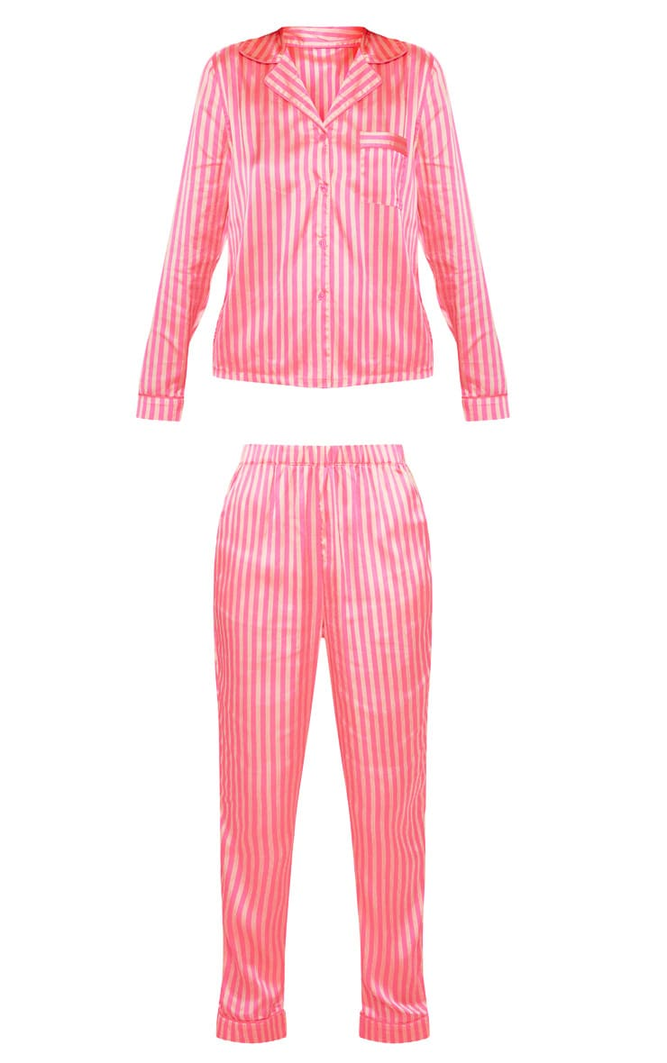 Pink Long Striped Satin PJ Set 3