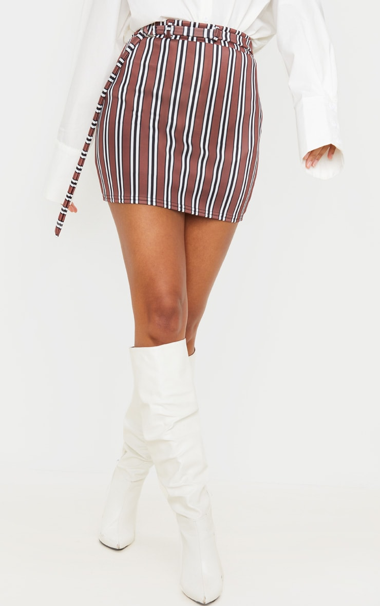 Chocolate Stripe Belted Mini Skirt 2