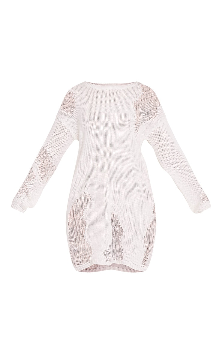 Romanae Cream Frayed Rip Knitted Jumper 3