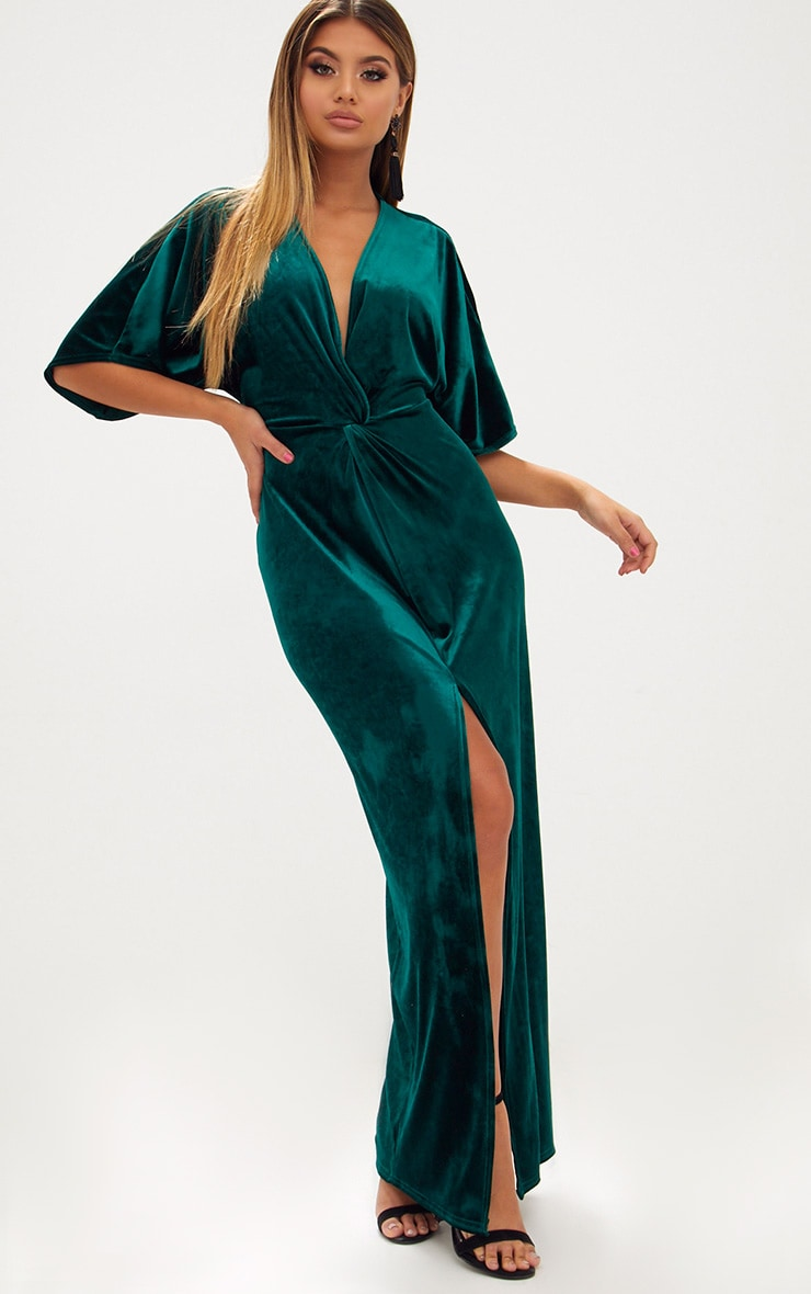 Emerald Green Velvet Kimono Sleeve Maxi Dress 1