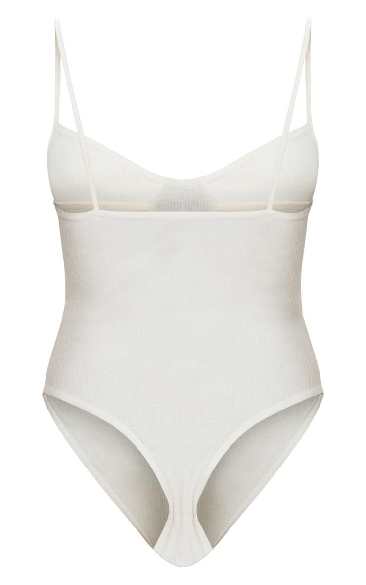 Cream Rib Cup Detail Thong Bodysuit  4