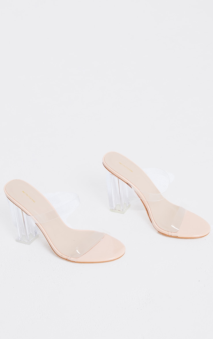Nude Wide Fit PU Round Toe Clear Double Strap Clear Heeled Mules 3