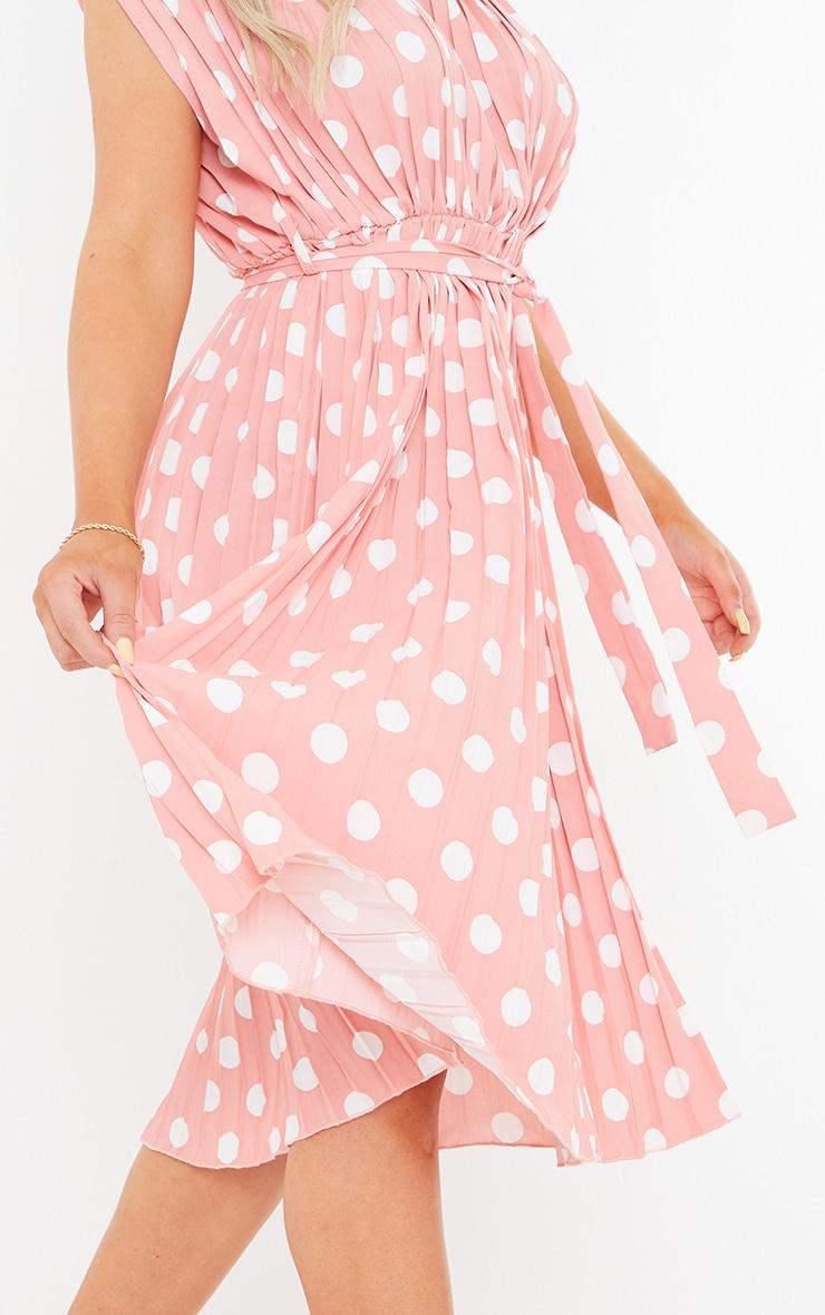 Dusty Pink Polka Dot Pleated Sleeveless Midi Dress 4