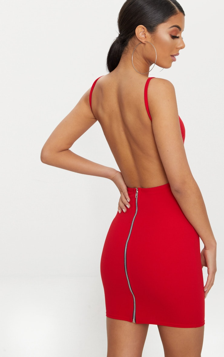 Red Zip Detail Low Back Strappy Bodycon Dress 1