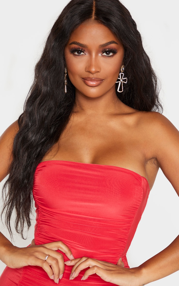 Shape Red Slinky Ruched Bandeau Bodycon Dress 5