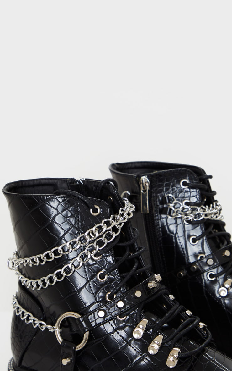 Black Chain Hiker Lace Up Ankle Boot 5