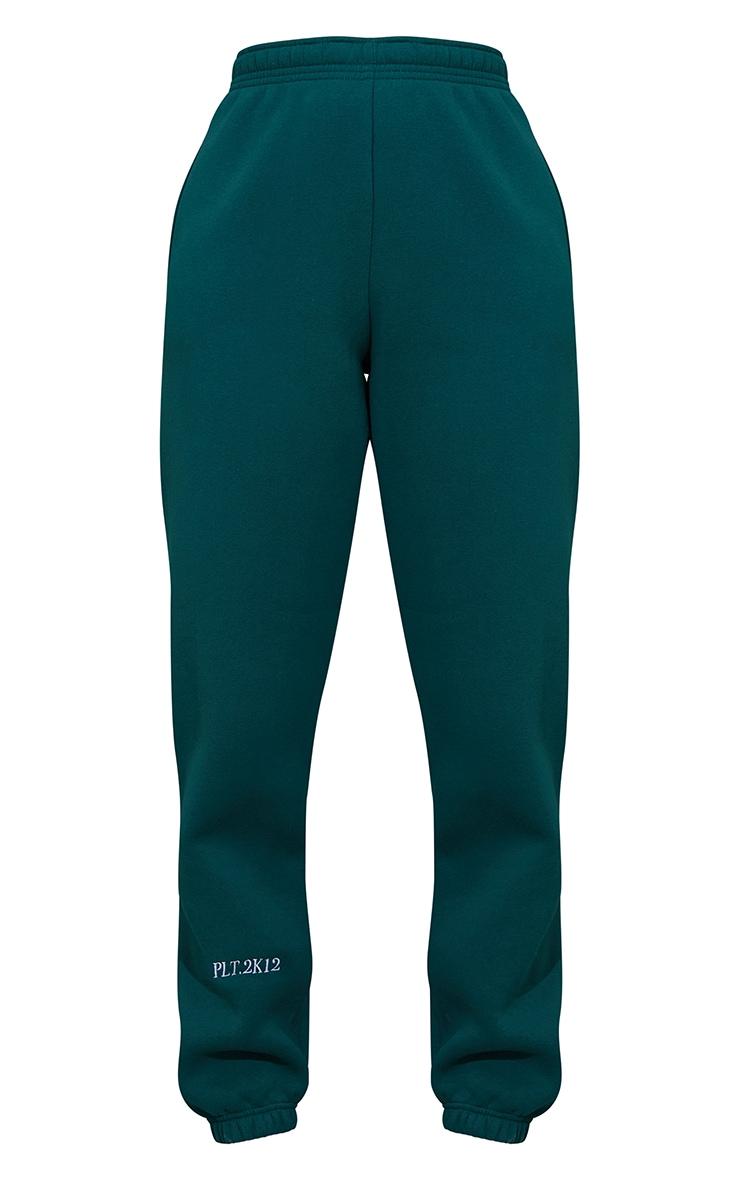 PRETTYLITTLETHING Dark Green Cuff Detail Casual Joggers 5