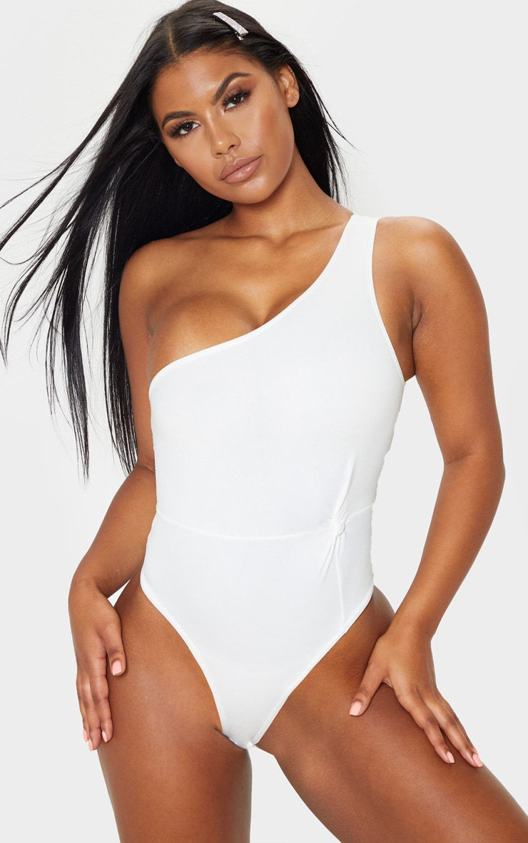 White One Shoulder Scuba Bodysuit 1