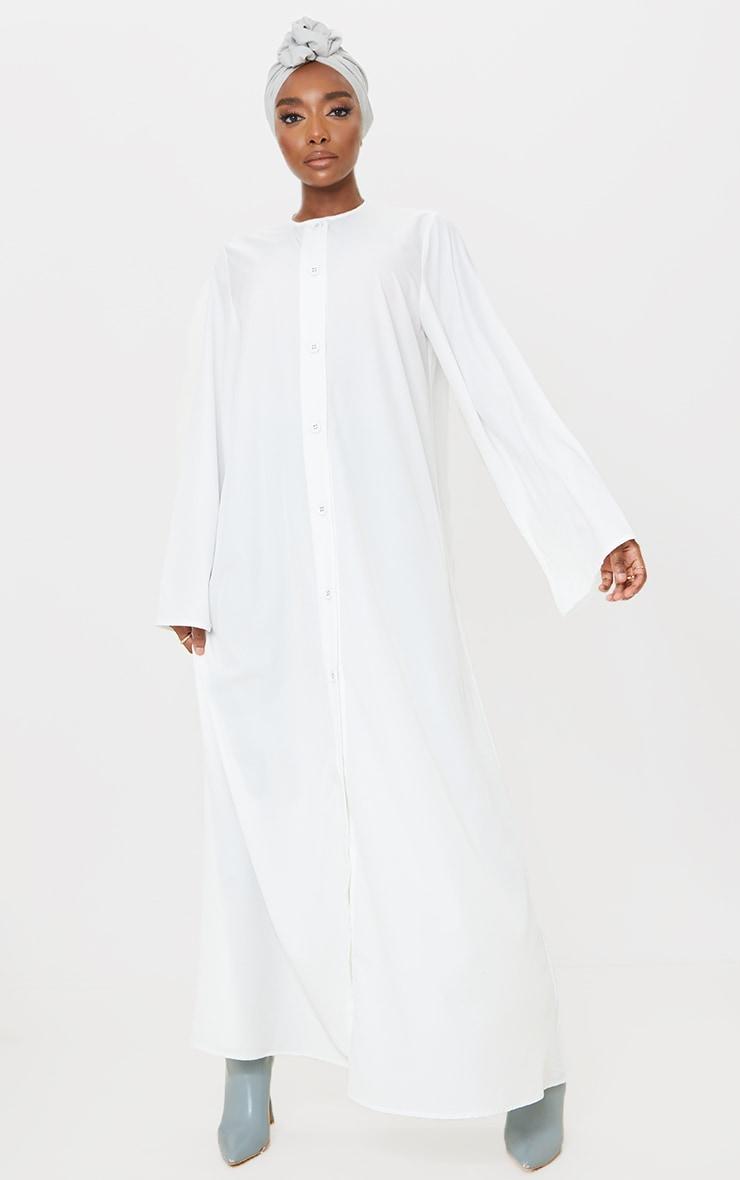 White Woven Oversized Button Down Maxi Shirt Dress