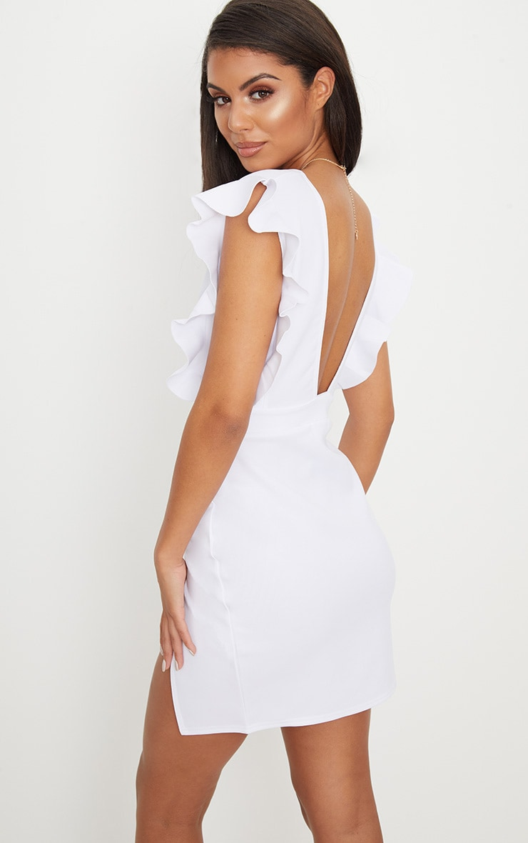 White Frill Plunge Split Leg Bodycon Dress 2