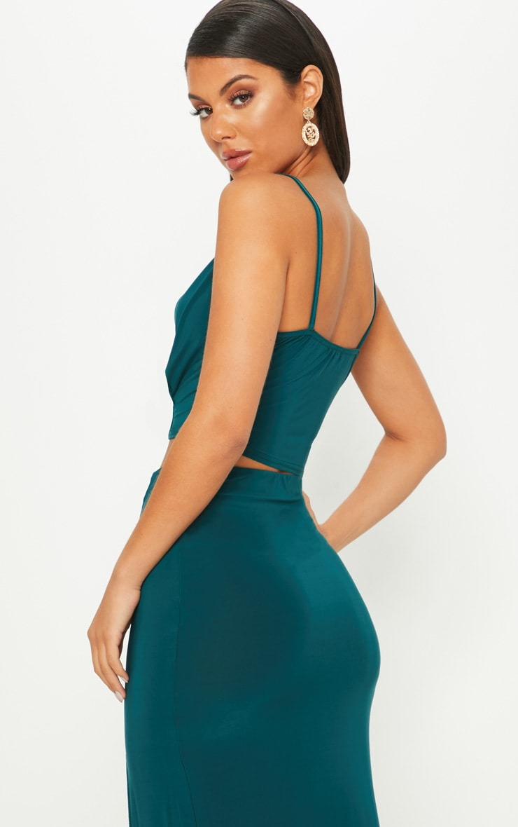 Emerald Green Cowl Neck Crop Top 2