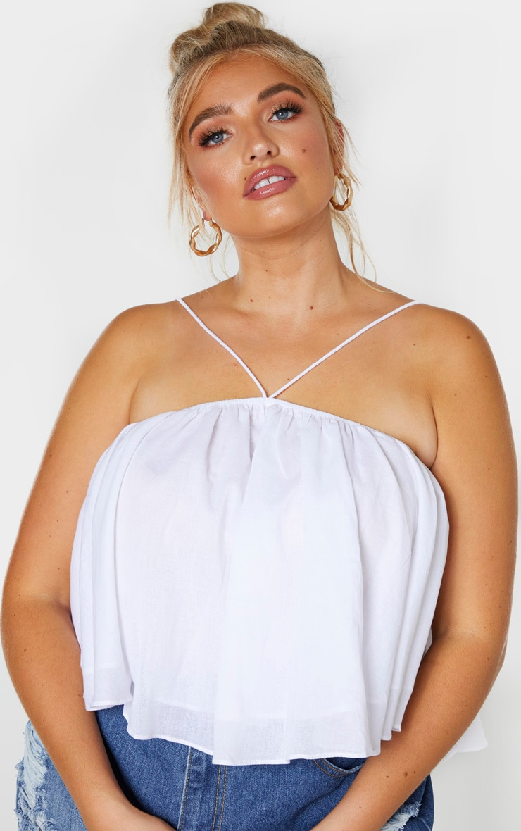 Plus White Woven Strappy Floaty Crop Top  5