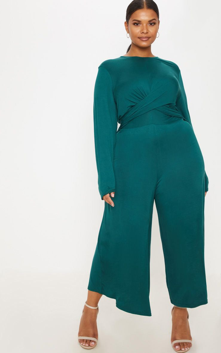 Plus Emerald Green Twist Front Culotte Jumpsuit 1