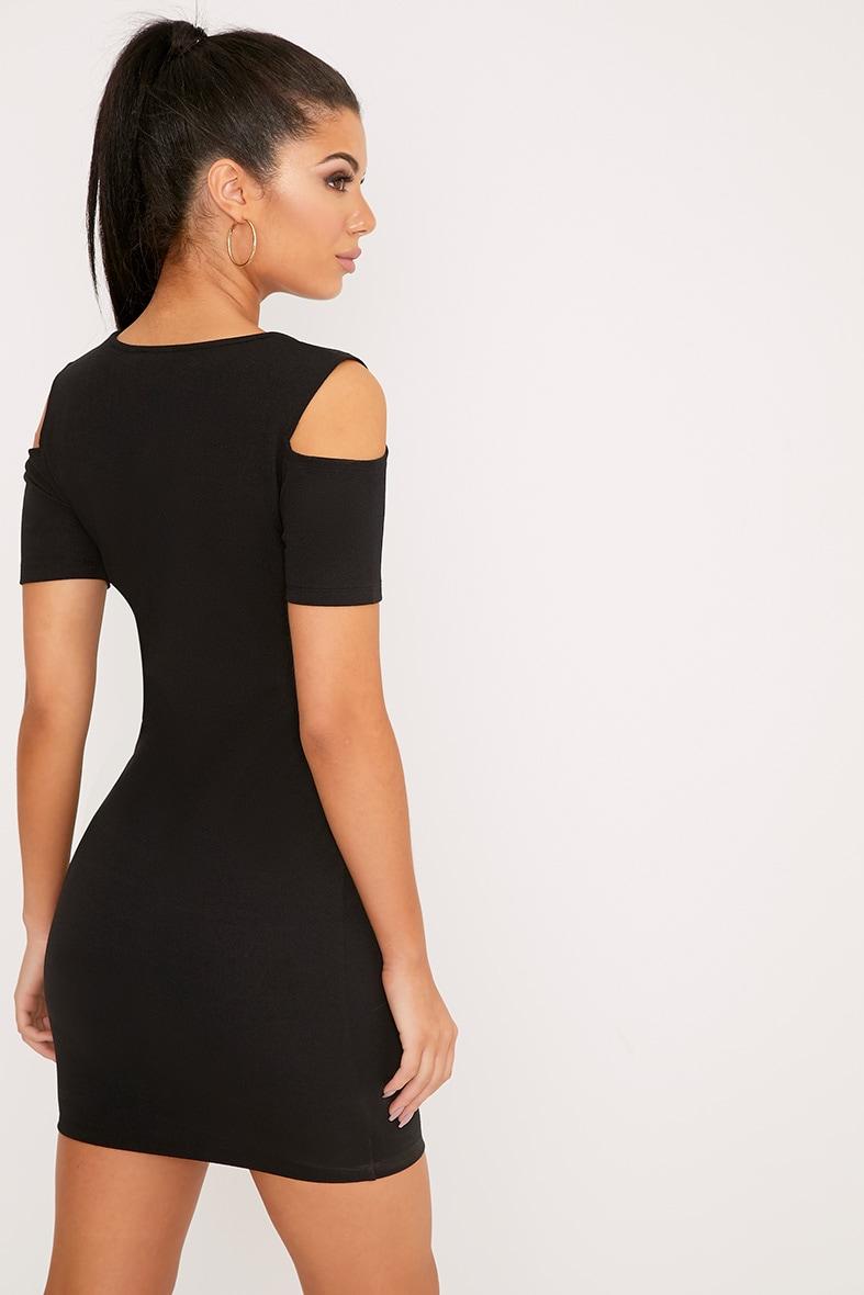 Alarnia Black Cold Shoulder Bodycon Dress 2