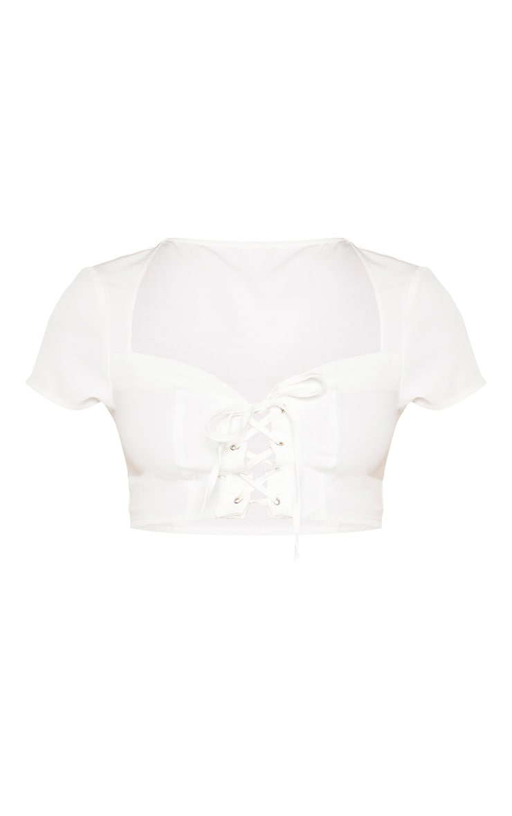 Plain White Sweetheart Neck Lace Up Crop Top 3