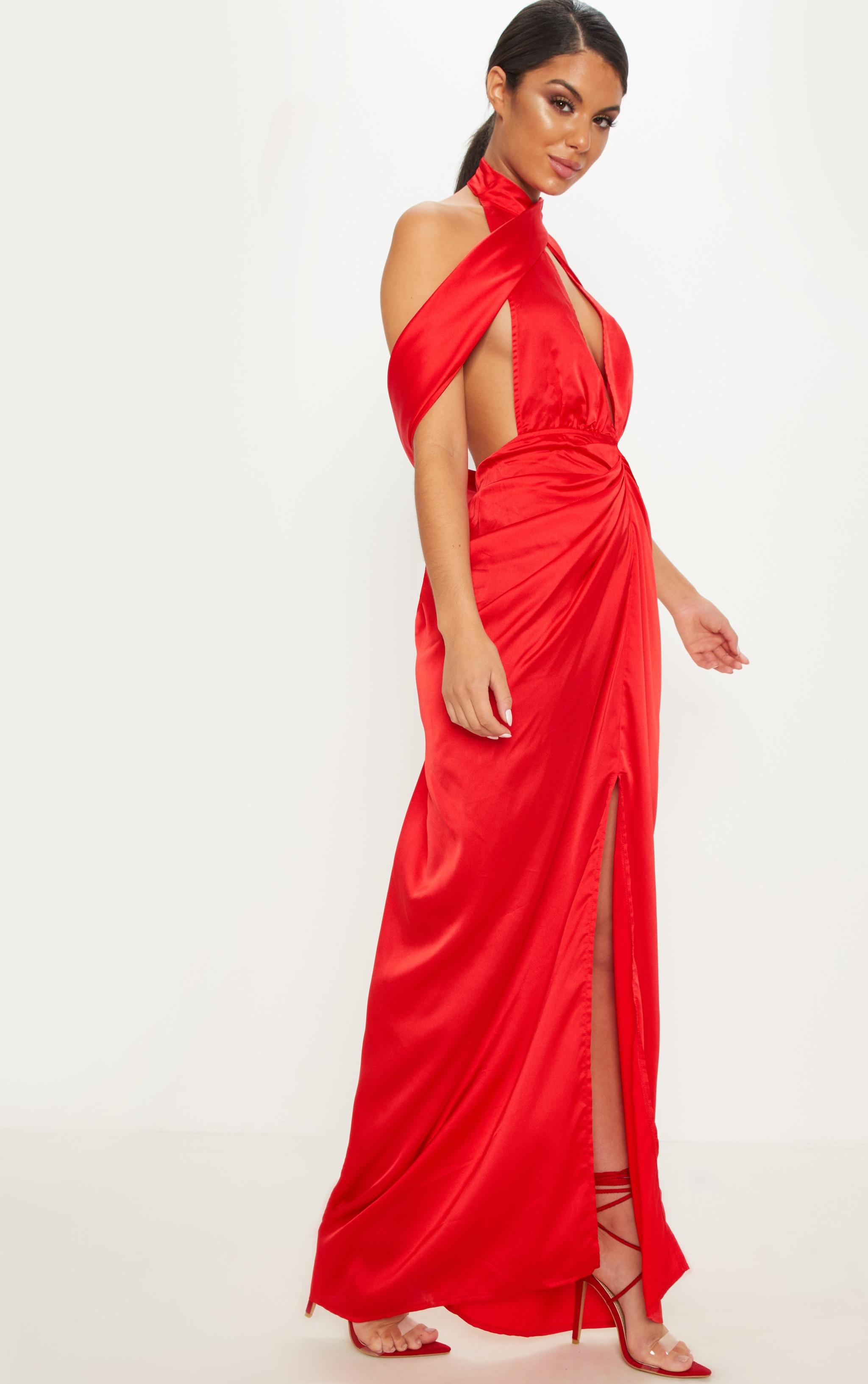 Red Satin Drape Detail Maxi Dress 3
