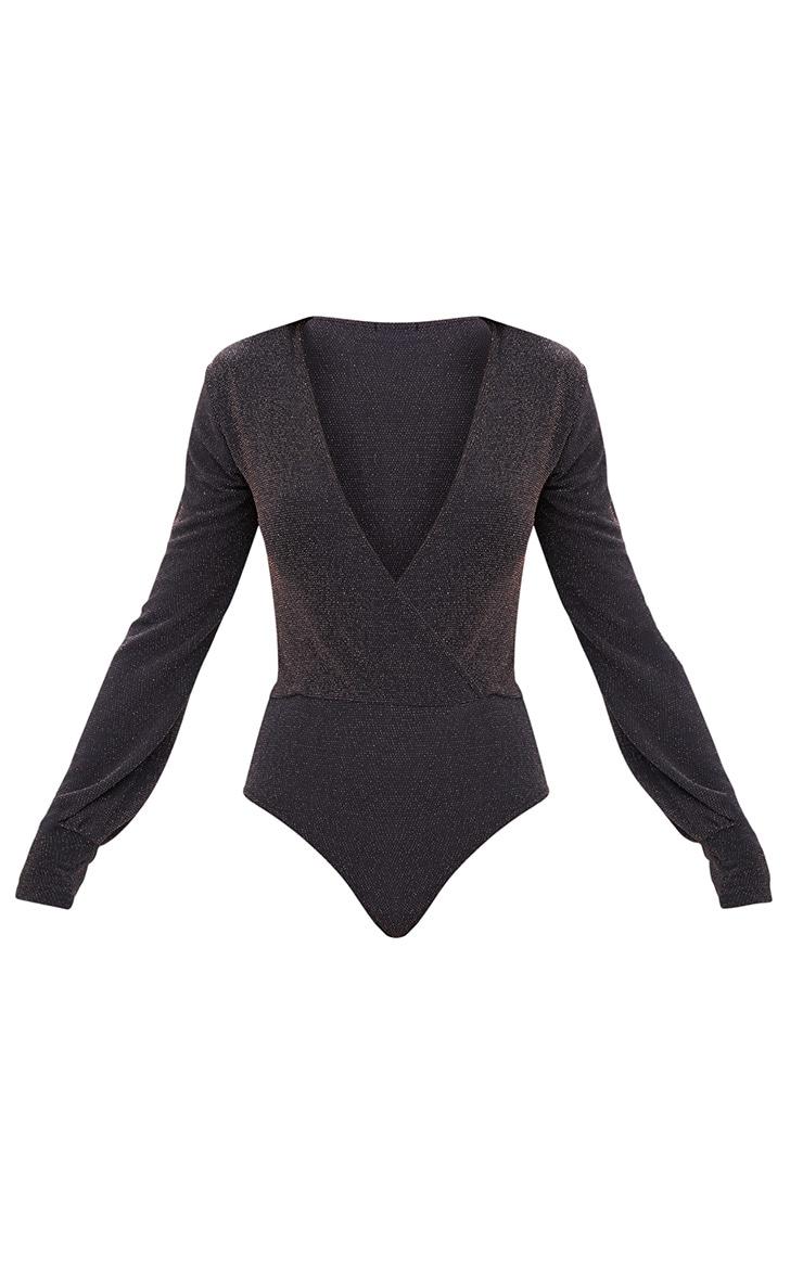 Grey Textured Glitter Plunge Shoulder Pad Thong Bodysuit 3