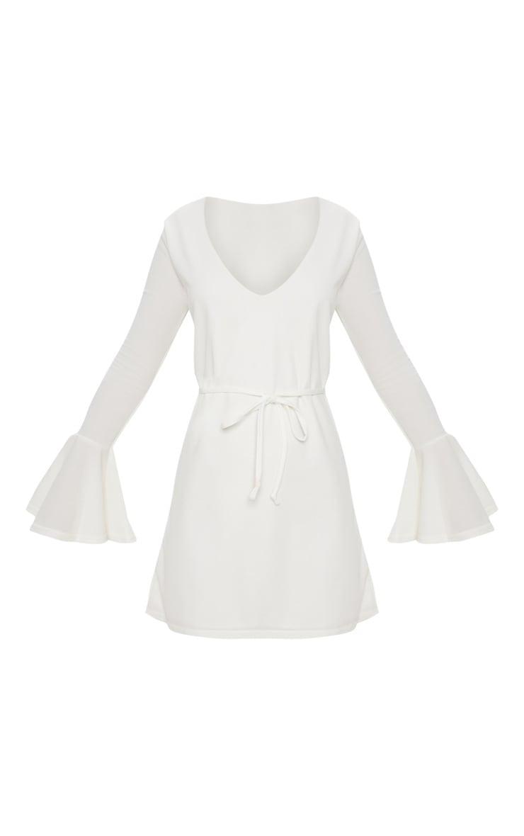 White Flared Sleeve Tie Detail Shift Dress 3
