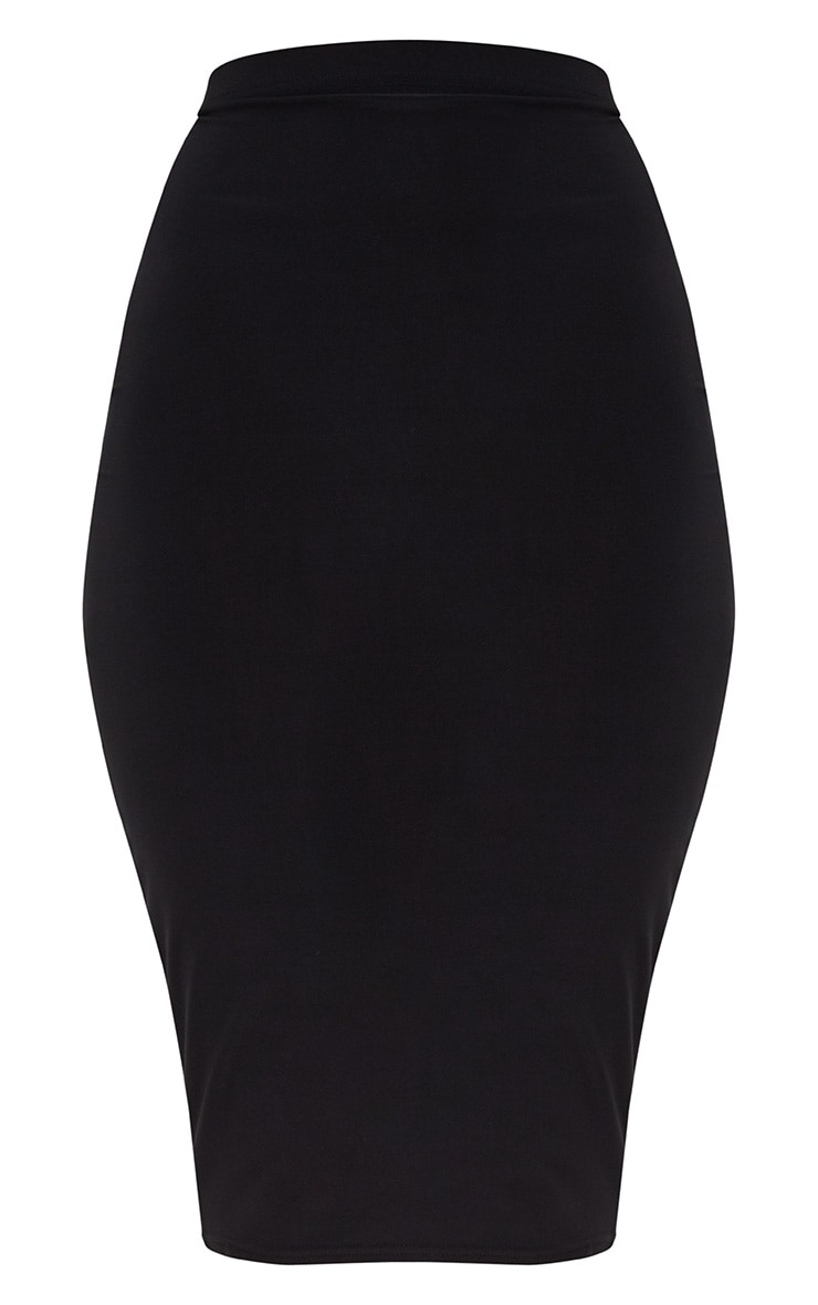 Black Slinky Midi Skirt  3