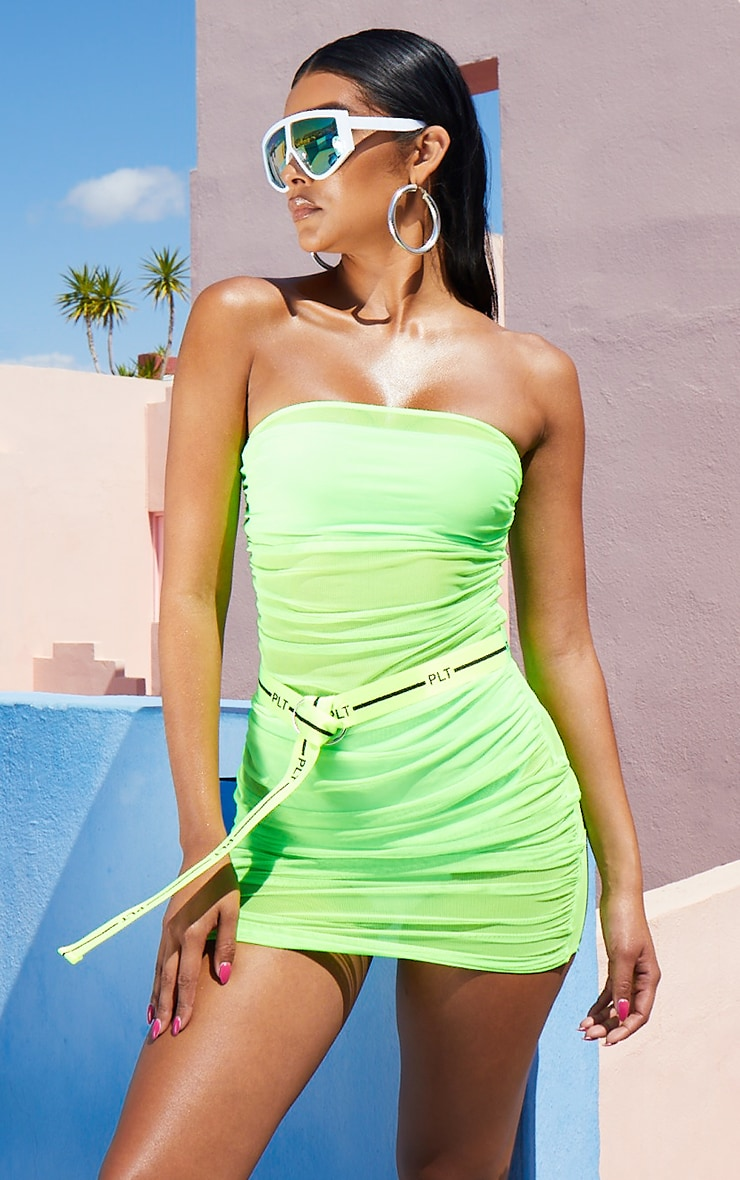 Neon Lime Ruched Mesh Dress 1