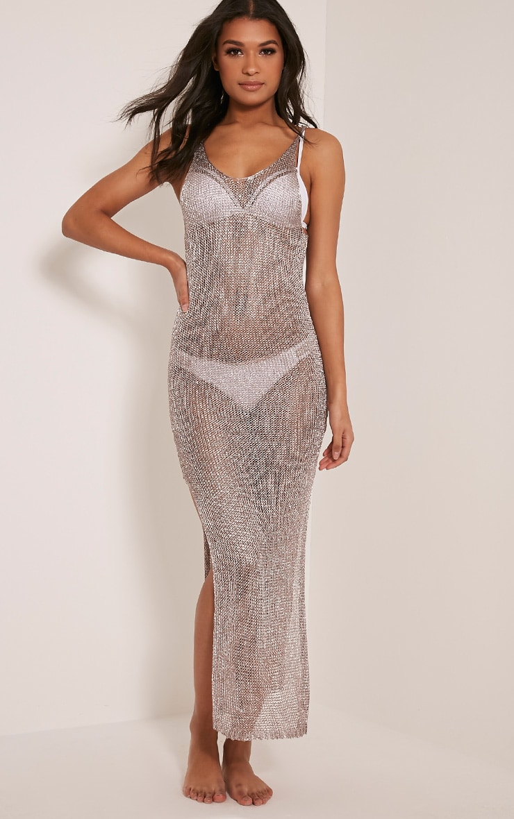Denika Pewter Metallic Knit Maxi Dress 1