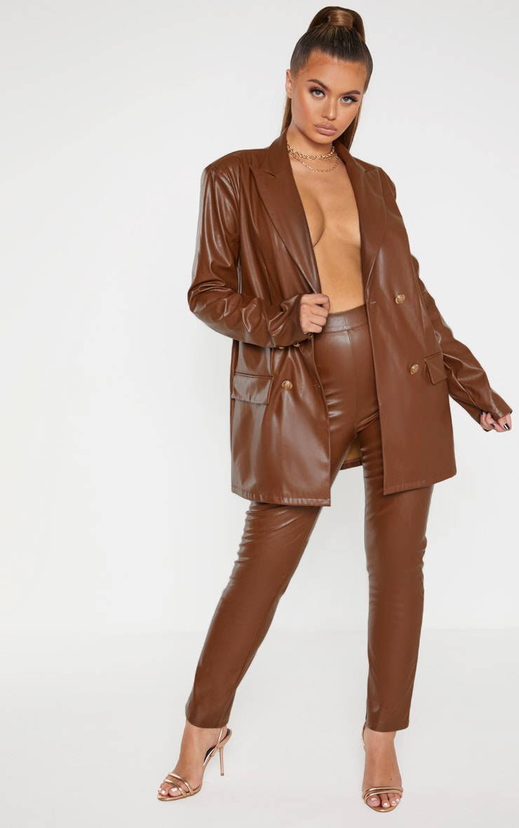Brown PU High Waisted Cigarette Trousers