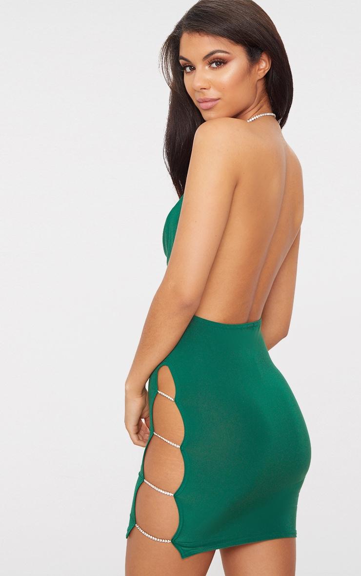 Emerald Green Diamante Detail Extreme Split Cowl Neck Bodycon Dress 2