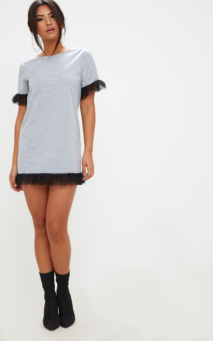 Grey Marl Mesh Tulle Sleeve T Shirt Dress  4