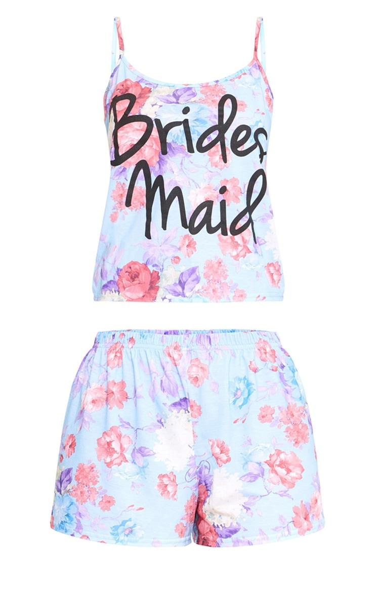Blue Bridesmaid Floral PJ Set 3