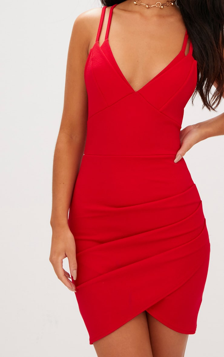 Red Double Strap Wrap Skirt Bodycon Dress 5