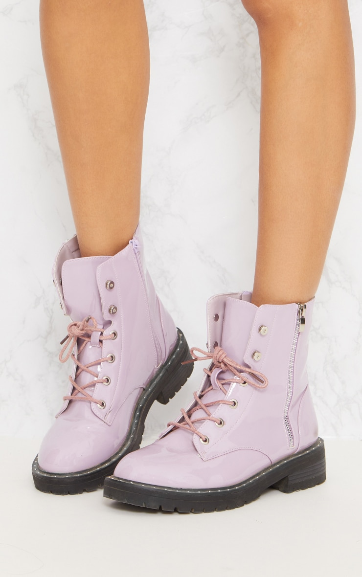 Lilac Chunky Lace Up Boot 3