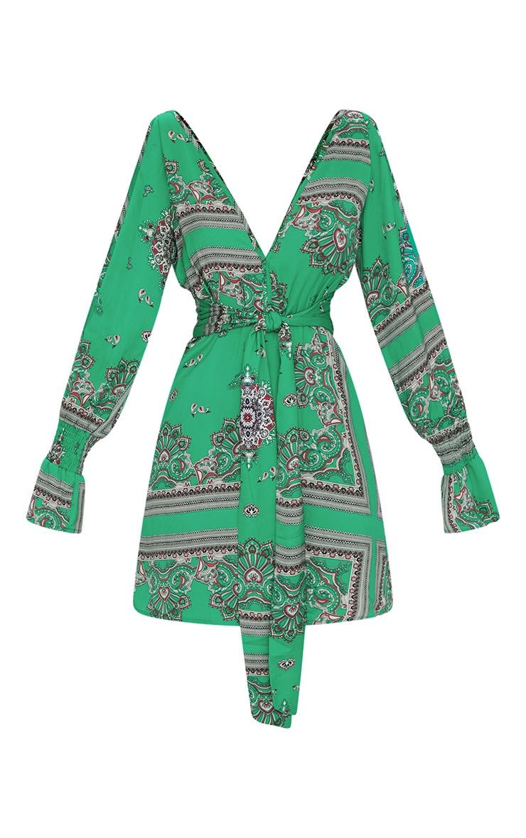 Green Satin Cold Shoulder Plunge Bell Cuff Bodycon Dress 3