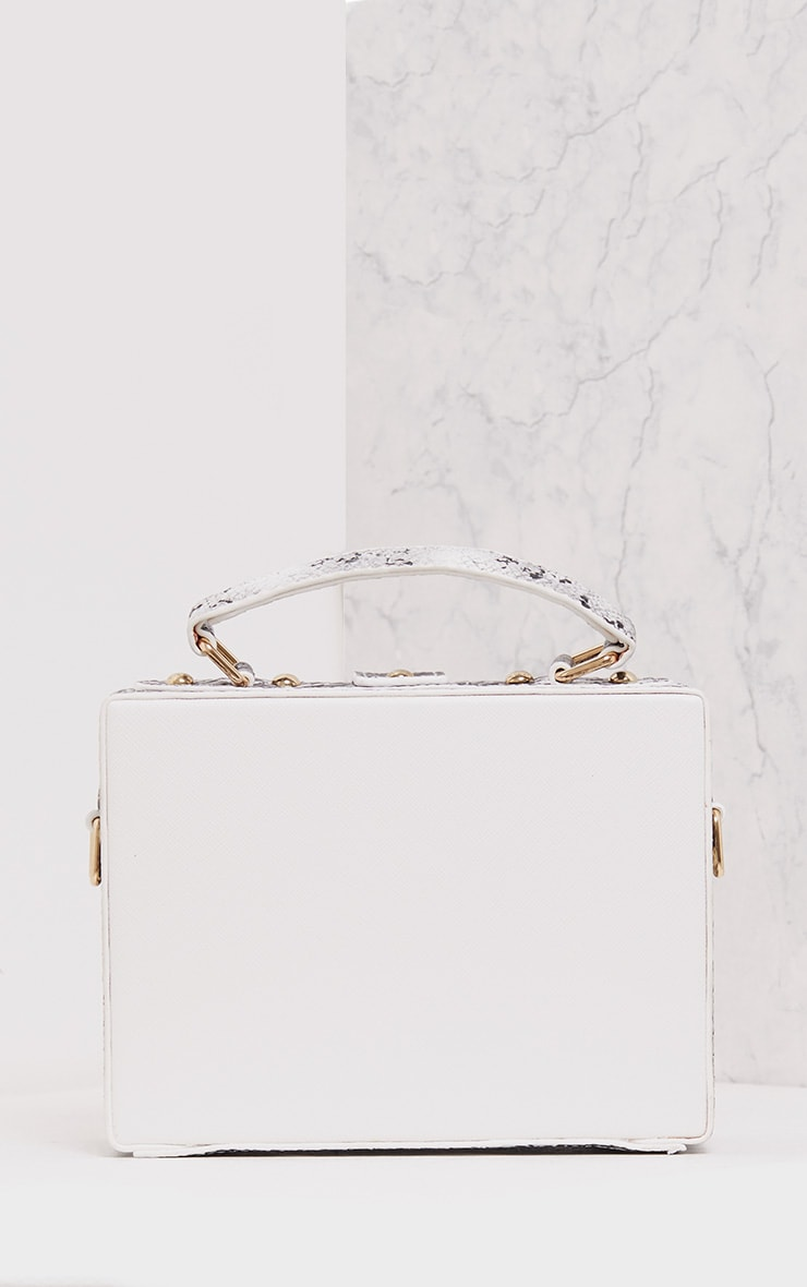 Zara White Padlock Box Bag 2