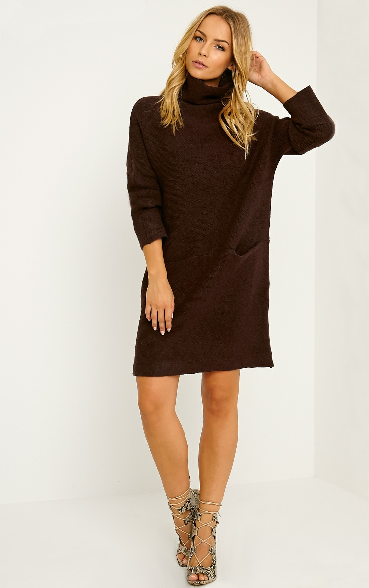 Nim Chocolate Brown Oversized Knitted Dress 3