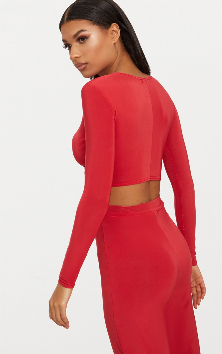 Red Slinky Knot Front Long Sleeve Crop Top 2