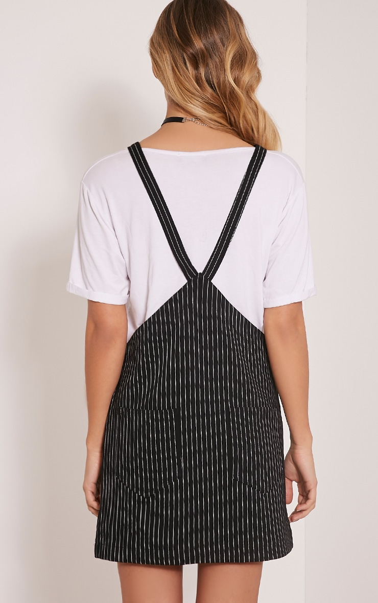 Adyna Black Knitted Pinstripe Pinafore Dress 2