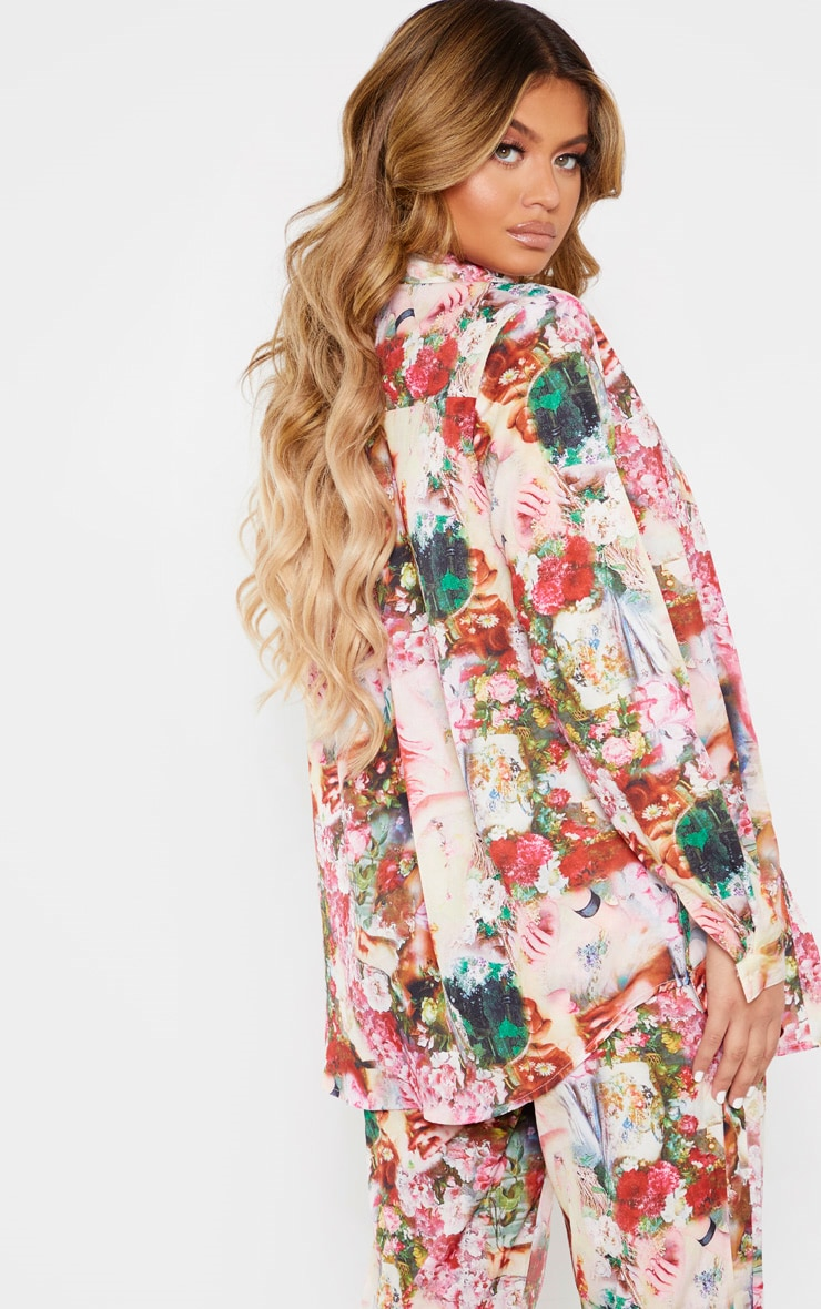 Rose Femme Renaissance Print Oversized Shirt 2
