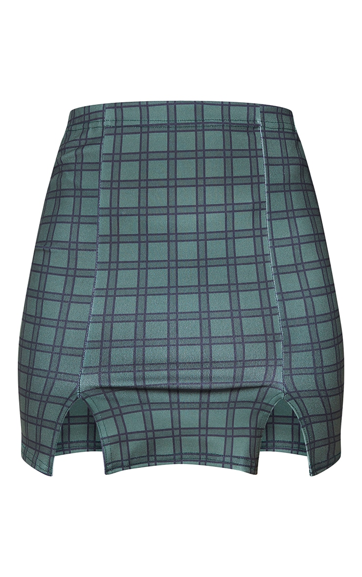 Khaki Double Split Hem Checked Mini Skirt 6