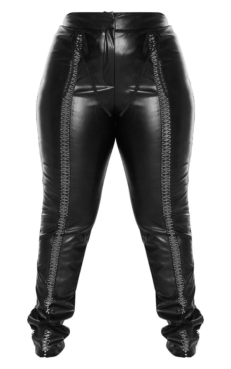 Plus Black PU Lace Up Detail Pant 5