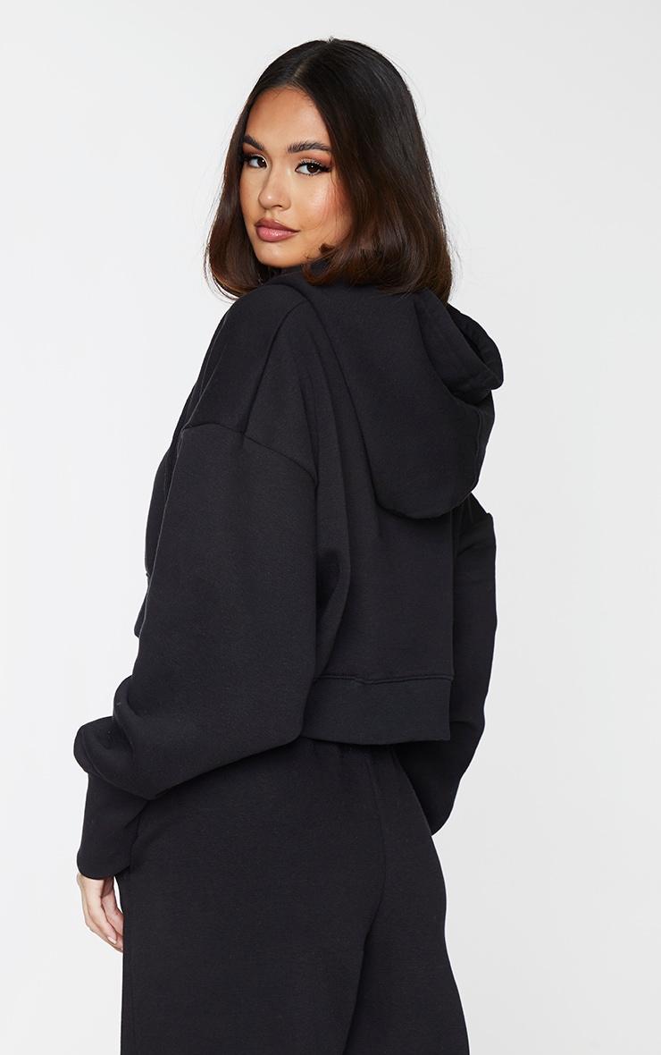 Black Oversized Zip Through Rib Cuff Cropped Hoodie 2