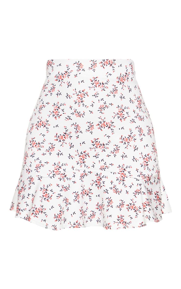 White Ditsy Floral Flippy Hem Mini Skirt 3
