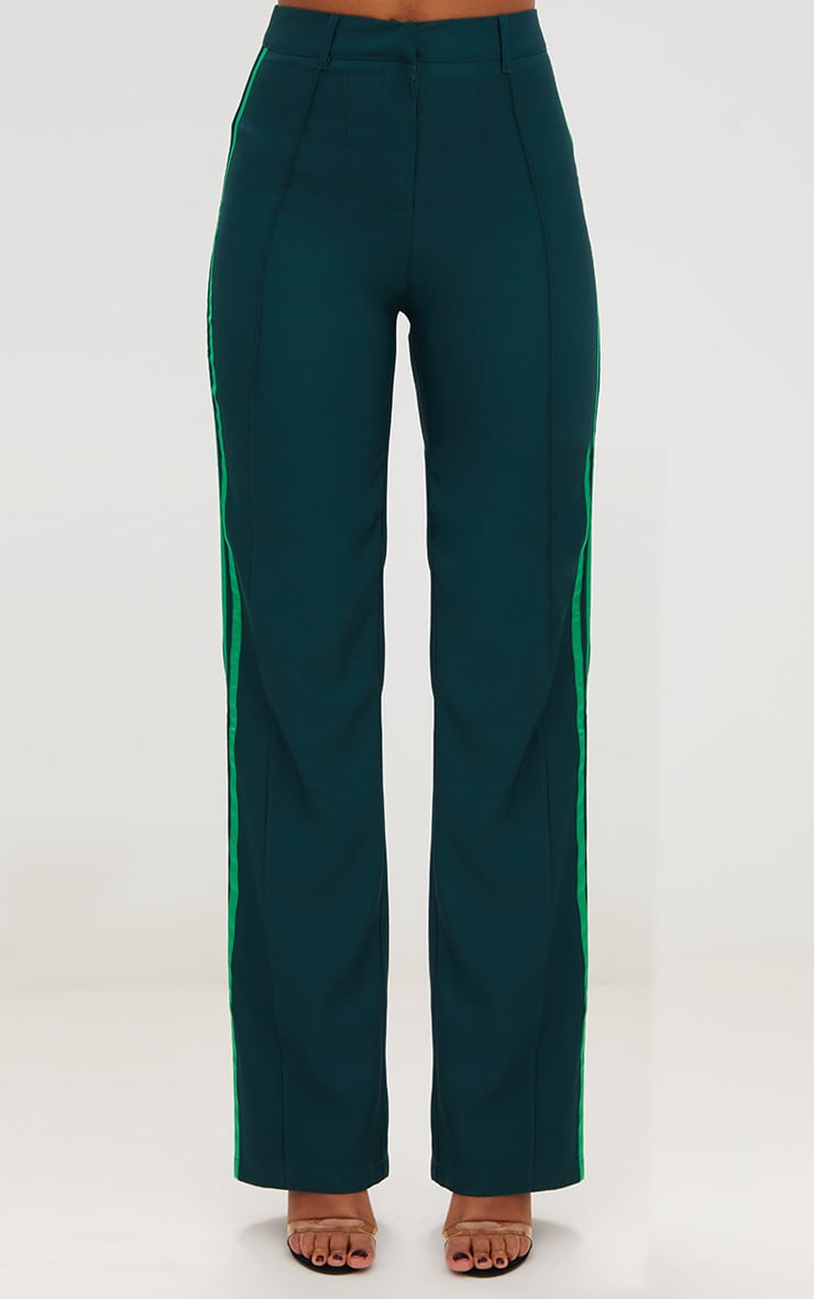 Dark Green Track Stripe High Waisted Straight Leg Trousers 2