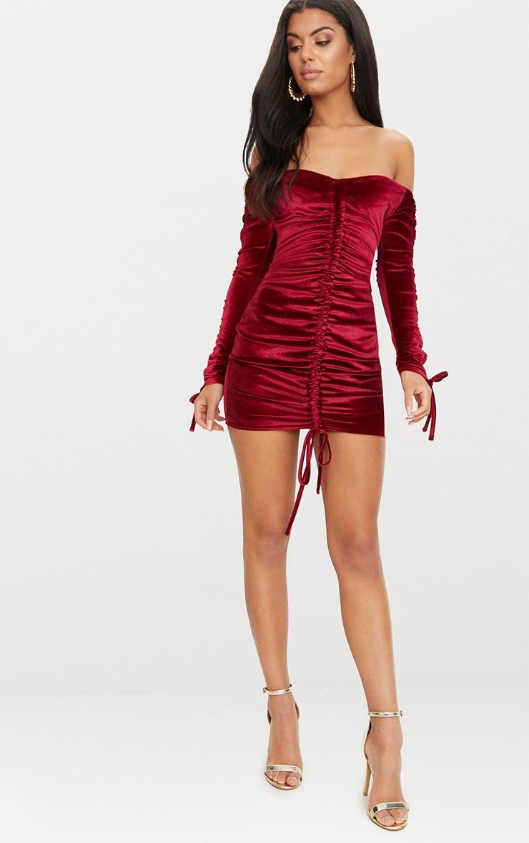 Burgundy Bardot Velvet Ruched Arm Ruched Front Bodycon Dress 4