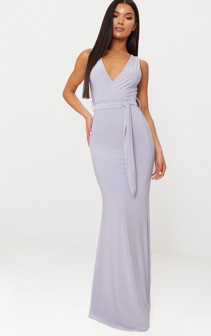 Ice Grey Plunge Tie Detail Maxi Dress 1