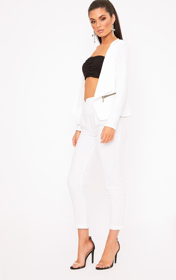 White Zip Pocket Blazer 4