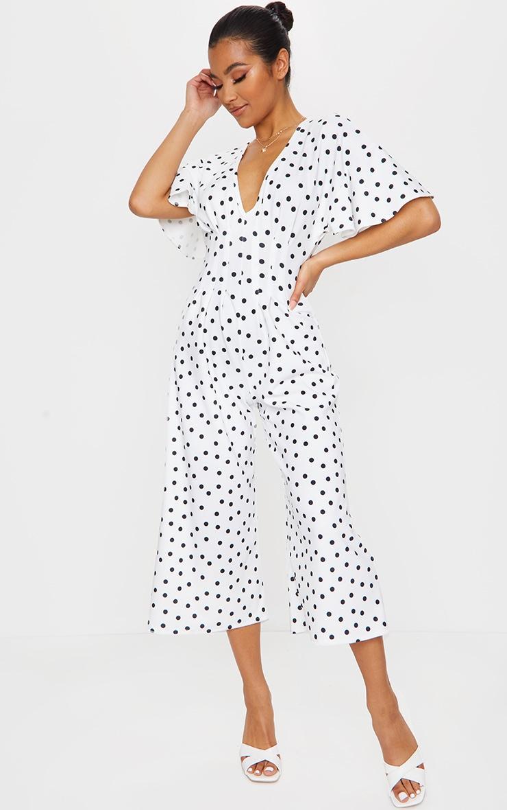 White Polka Dot Pleated Waist Plunge Culotte Jumpsuit 3